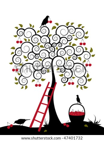 vector cherry tree, ladder, birds and basket of cherries on white background