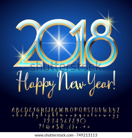 Vector Chic Happy New Year 2018 Greeting Card With Alphabet Set Of Letters Symbols And