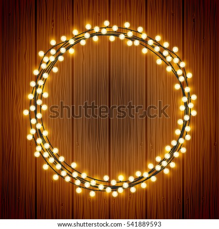 Vector Chrisrmas decorative festive lights wreath on wood texture background