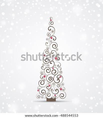 Vector Christmas background, Merry Christmas card with Christmas tree