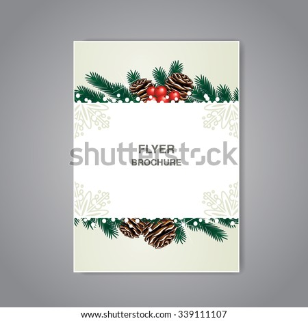 christmas brochure template - save date card tropical plants flowers stock vector