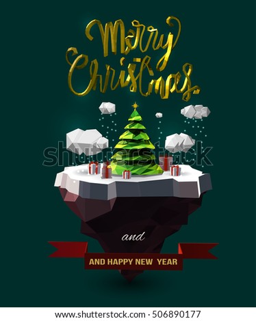 "Vector Christmas design with floating island, clouds, pine tree, gift box, golden 3d ""Merry Christmas"" text, and New Year wish."