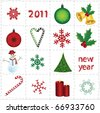 vector christmas elements and icons - stock vector