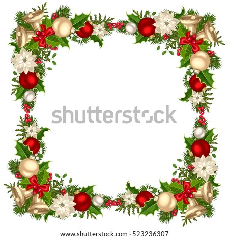 Vector christmas decorative corner background red stock for Poinsettia christmas tree frame