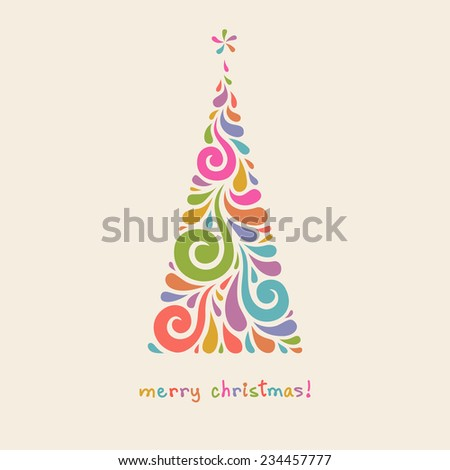 Vector Christmas tree of swirl shapes. Original modern design element. Greeting, invitation cute card. Simple decorative illustration for print, web