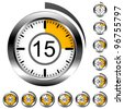 Vector chrome round timers - stock vector