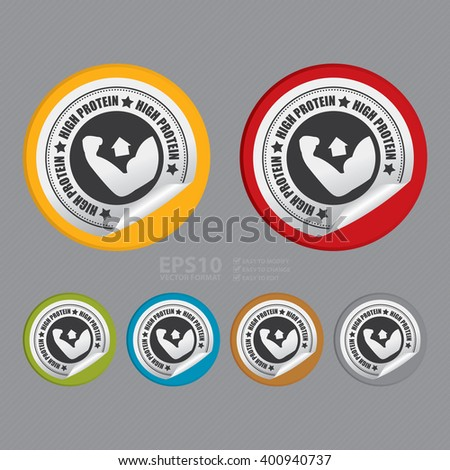 Vector : Circle High Protein Product Label Infographics Flat Icon, Peeling Sticker, Sign