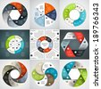 Vector circle infographics set. Template for diagram, graph, presentation and chart. Business concept with six options, parts, steps or processes. Abstract background. - stock