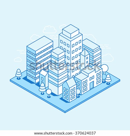 Vector city landscape isometric illustration - business concept and banner in trendy linear style  on blue background