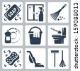 vector cleaning icons set  soap ...