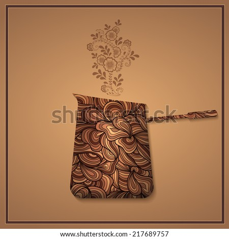 Vector coffee background with floral pattern elements. eps10
