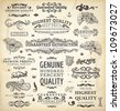 vector collection: calligraphic vintage design elements set and page decorations, classical ornaments | Premium Quality, Genuine and Satisfaction, Guaranteed Labels with engraving flowers and leafs - stock vector