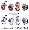 vector collection funny and cartoon american fast food - stock vector