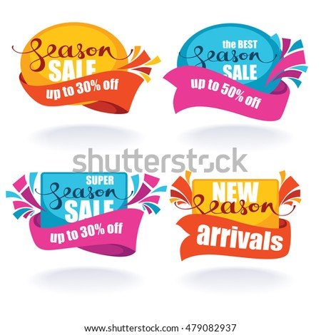 vector collection of bright season discount tags, banners and stickers