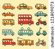 Vector collection of cars and buses. Icon with transport. - stock photo