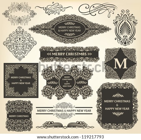 Vector collection of Christmas Ornaments and Decorative Elements