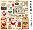 Vector collection of Christmas Ornaments and Decorative Elements: borders, frames, stickers with Santa Claus, Christmas tree - stock vector