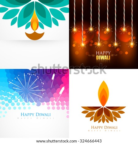 vector collection of diwali  background with creative diya and crackers illustration