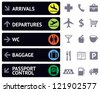 Vector collection of icons and pointers for navigation in airport - stock photo