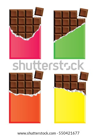 vector collection of opened dark chocolate bars with a piece of chocolate bar, pink, green, orange and yellow paper wrapper