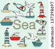 Vector collection of sea icon with vessels, lighthouses, seagulls and message in a bottle. - stock vector