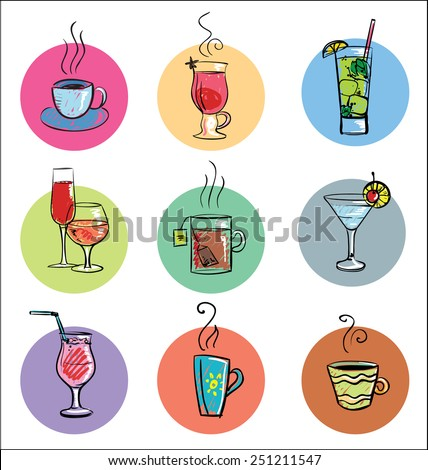 Vector Collection of Sketch Cocktails and Hot Drinks