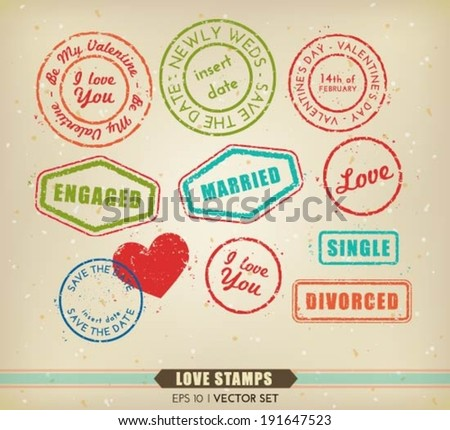 Vector collection of various love related stamps