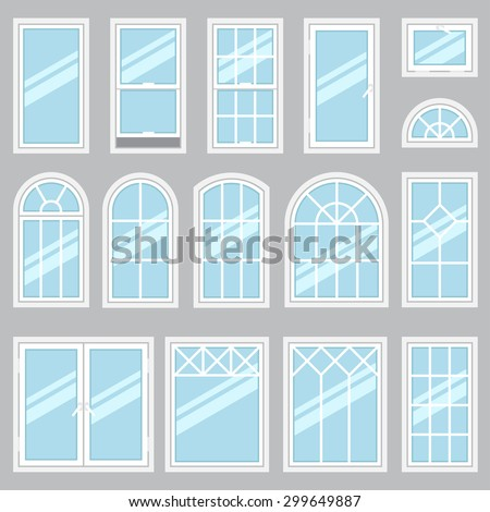 Vector collection various windows types interior stock for Types of window styles