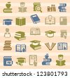 vector color book icons set on color background - stock photo