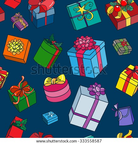 Vector Color Christmas Gift Seamless Pattern