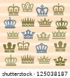 vector color crown icons set on beige - stock vector
