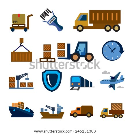 vector color logistic and shipping icon set on white