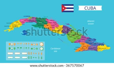 Vector Color Map Cuba Capital Havana Stock Vector - Map of cuba
