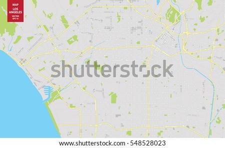 Vector Color Map Of Los Angeles Usa City Plan Of Los Angeles Vector