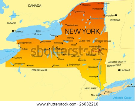 Vector Color Map New York State Stock Vector Shutterstock - New york in usa map