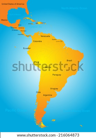 Vector Illustration South America Map Countries Stock Vector - Map of south american countries