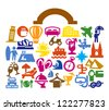 vector color travel suitcase icons on white - stock vector