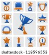 vector color trophy and awards icons set - stock vector