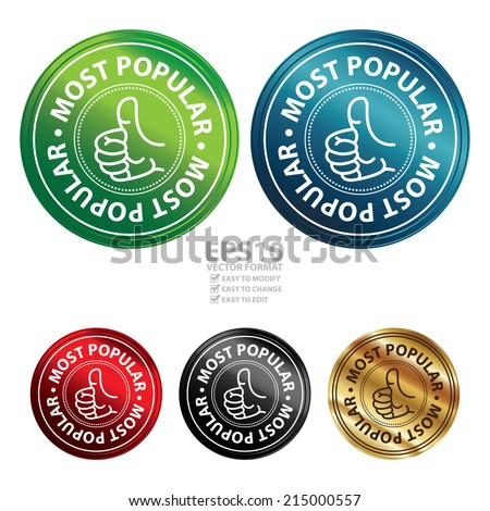 Vector : Colorful Circle Metallic Style Most Popular Icon, Sticker, Label or Badge Isolated on White Background