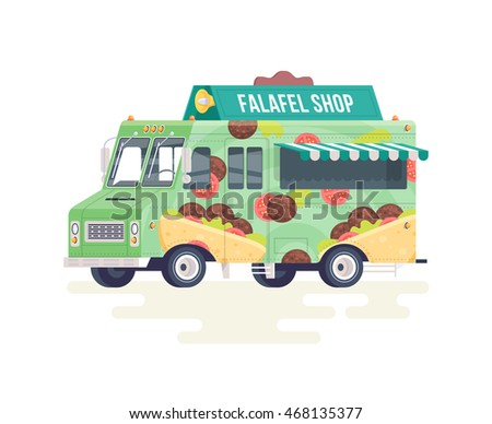 Vector Colorful Flat Falafel Truck Food Isolated On White Background