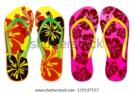 Vector Colorful Flip Flops Hibiscus Flower Stock Vector ...