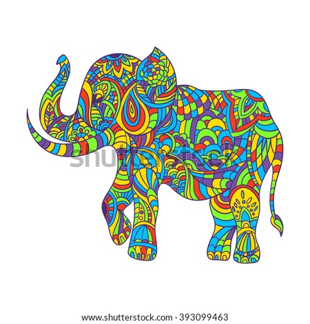 Vector Decorated Indian Elephant Silhouette Colored Stock