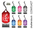 Vector: Colorful 25 - 70 Percent OFF Big Sale Price Tag Isolated on White Background - stock photo