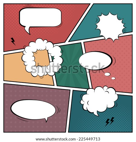 Vector colorful template of retro comic book page with various speech bubbles, rays, stars, dots, halftone background
