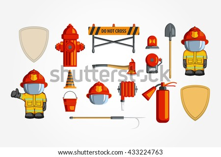 Vector Colorful vintage flat icon set. illustration for infographic. Firefighter Equipment and volunteer emblem