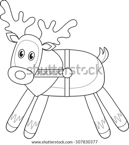 vector coloring page of a christmas reindeer