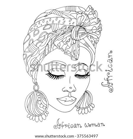 Vector Painted Portrait Beautiful African Girl Stock Vector 376421023