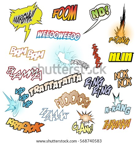 Vector Comic Book Sound Effects Set Stock Vector 580537618