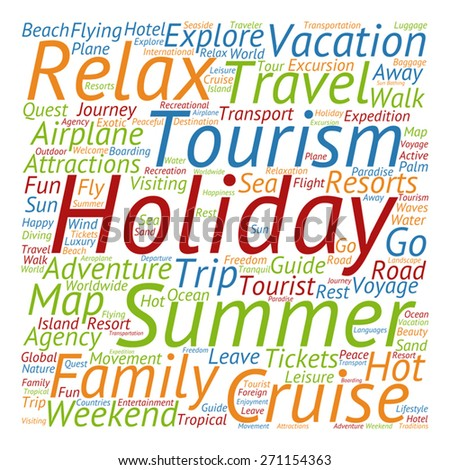 Vector Concept Or Conceptual Colorful Travel Tourism Text Word Cloud Tagcloud Isolated On White Background