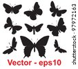 Vector concept or conceptual group,set or collection of black shapes or silhouettes of insects or butterfly isolated on white background for symbol,tattoo,fly,wing,summer,spring,decoration or ornament - stock vector